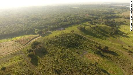 An aerial view of the southwestern part of the main Aguada Fenix plateau.