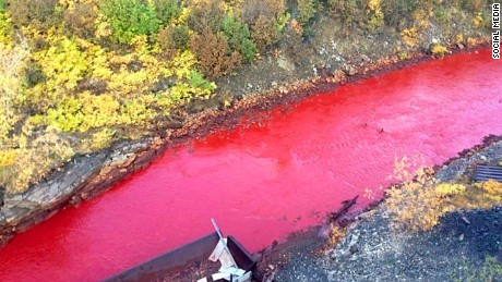 Crimson Tide: Residents were stunned when the Russian river turns red