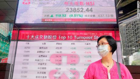On Tuesday, a woman wearing a mask passes in front of an electronic bank card showing the Hong Kong stock index on the Hong Kong Stock Exchange.