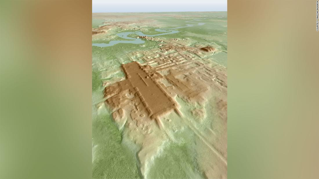 A 3D image of the newly discovered Maya site of Aguada Fenix based on lidar, a new technique that is revolutionizing archeology.