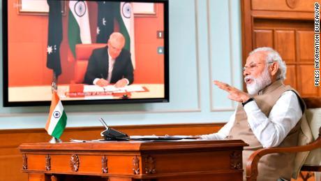 Indian Prime Minister Narendra Modi speaks during a virtual meeting with Australian Prime Minister Scott Morrison in New Delhi, India on Thursday 4 June 2020.