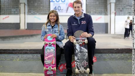 Brown (left) and Tony Hawk, a member of the Laureus Academy, pose during the visit of Laureus Sport for Good Skateboard before the 2020 Laureus World Sports Awards.