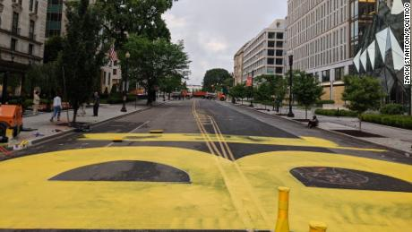 The city workers began to paint