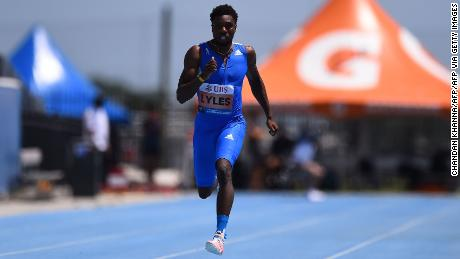 Lyles competes in the men's 200m at the Inspiration Games held remotely across different countries.