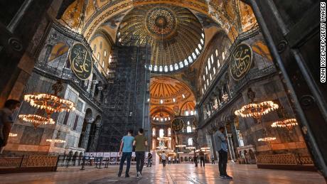 People visit Hagia Sophia museum on June 26, 2020 in Istanbul.