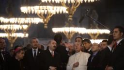 Pope Francis visits Hagia Sophia on November 29 in Istanbul.