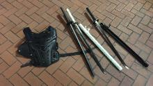 Portland police provided this image of what they say they confiscated during the protest.