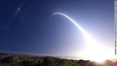 An unarmed US Minuteman III intercontinental ballistic missile launches during an operational test in California in 2016.