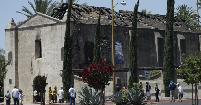 Fire ravages 249-year-old Spanish mission in Southern California