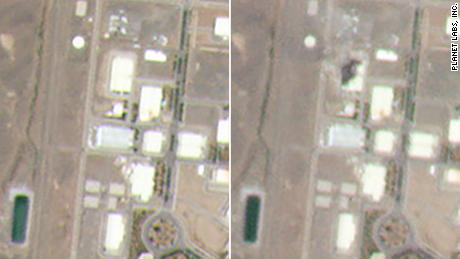 Satellite imagery shows the Natanz complex before and afte rthe fire.