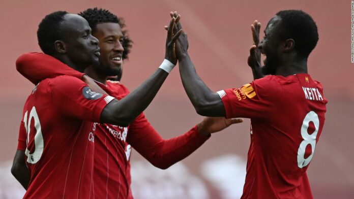 Liverpool gets Premier League title celebrations back on track with victory over Aston Villa