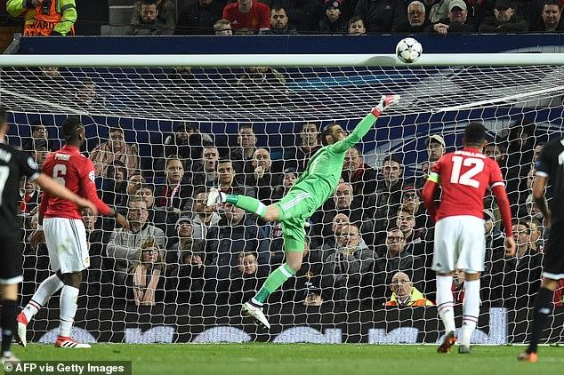 Spanish goalkeeper got a hand to Ben Yedder's header but his weak parry went over the line