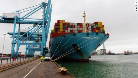 The Mette Maersk ran on a blend of fuel oil and biofuels during a three-month round trip from Rotterdam to Shanghai.