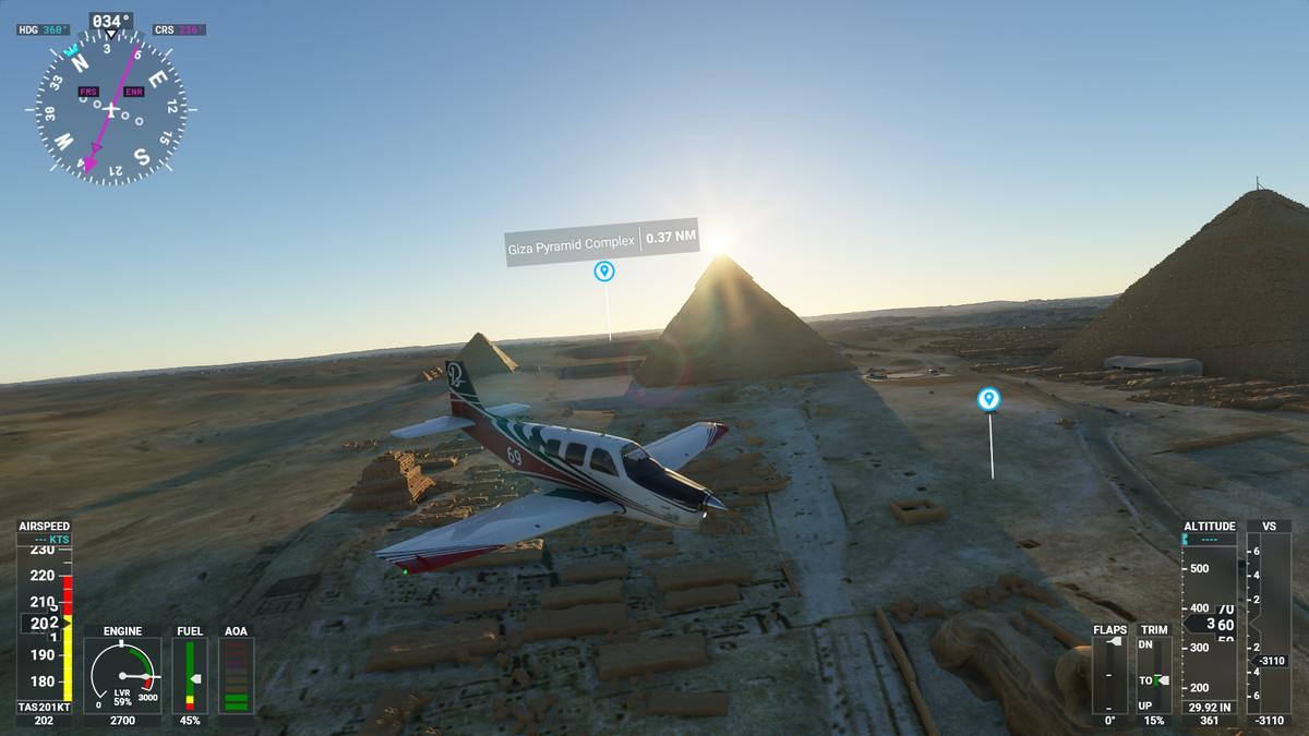 The Great Pyramids in Microsoft Flight Simulator