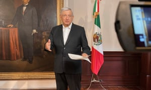 Mexico's President Andres Manuel Lopez Obrador delivers a message about the coronavirus vaccine.