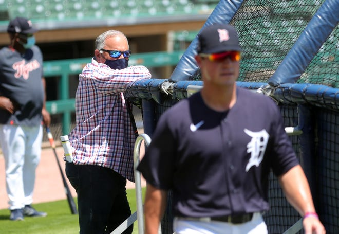 Detroit Tigers general manager Al Avila watches his 2020 No. 1 draft pick, Spencer Torkelson, who took batting practice Saturday, July 4, at Comerica Park.
