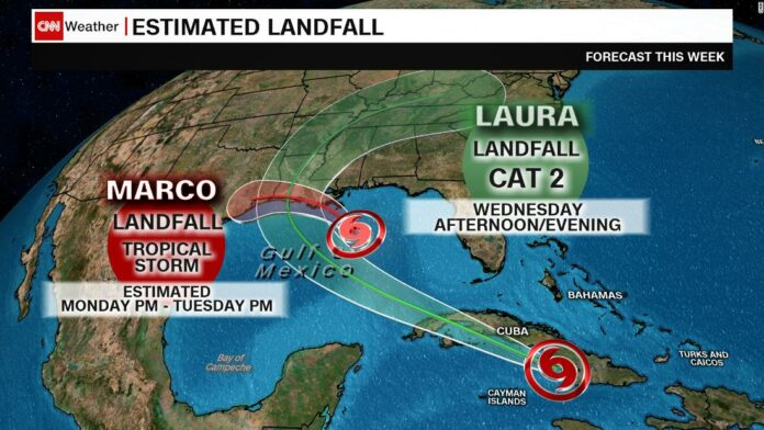 A weakened Tropical Storm Marco and a strengthening Tropical Storm Laura are heading for the Gulf Coast