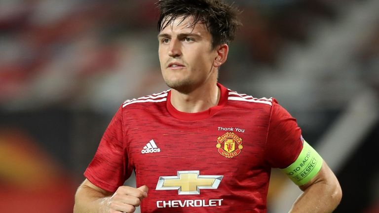Manchester United's Harry Maguire during the UEFA Europa League round of 16 second leg match at Old Trafford, Manchester. Wednesday August 5, 2020. See PA story SOCCER Man Utd. Photo credit should read: Martin Rickett/PA Wire.