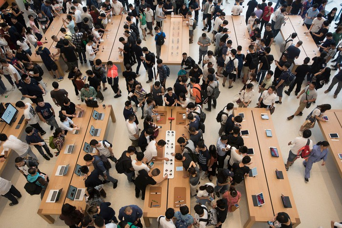 A packed Apple store in China.