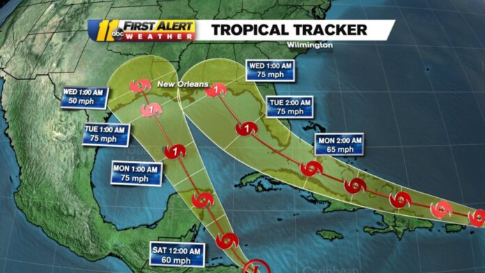 National Hurricane Center: Two tropical depressions are now churning in the Atlantic and both are eyeing the Gulf of Mexico, NOAA says