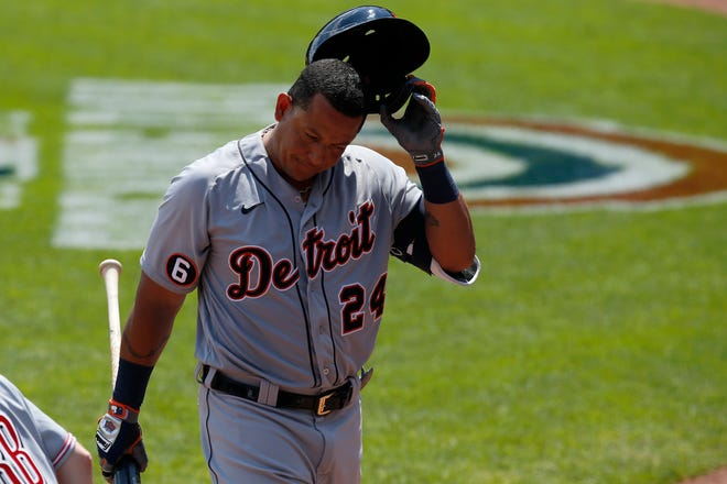 Detroit Tigers first baseman Miguel Cabrera returns to the dugout after striking out in the sixth inning vs. the Cincinnati Reds at Great American Ball Park in Cincinnati on Sunday, July 26, 2020.
