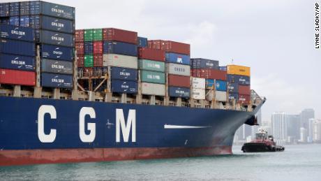 The CMA CGM Bianca  container ship entering Port Miami, Florida.