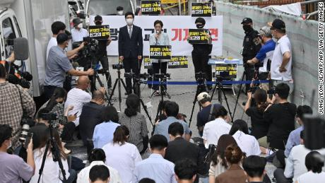 A lawyer of the Sarang-jeil Church holds a press conference in Seoul on August 17, 2020.