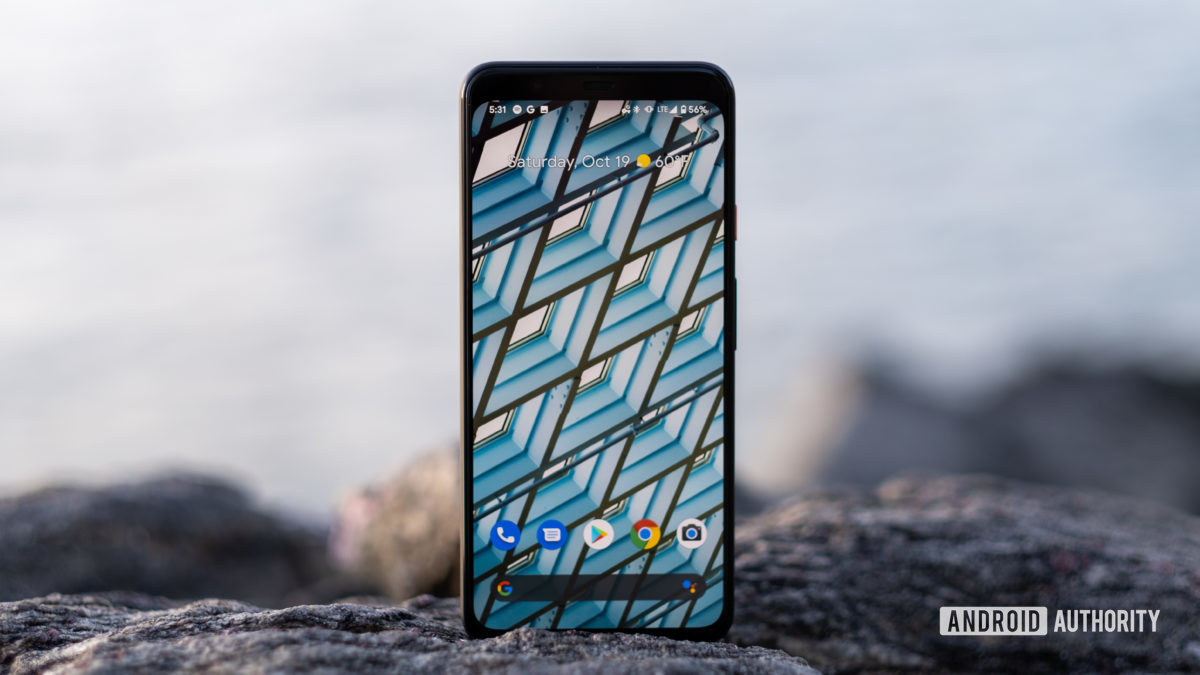 The Google Pixel 4 XL home screen is on Rock 15