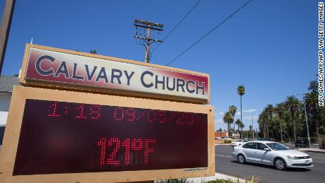 The thermometer in the Woodland Hills of California breaks the 121 degree Fahrenheit record.