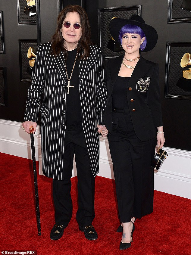 Father and daughter: Ozzy was spotted in January, looking like his old self, while attending a Grammys with a cane walking with his daughter Kelly.