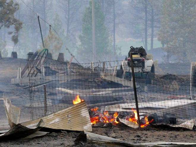 The speaker-review reports that a forest fire destroyed a small town in Malden, Wash., Monday, September 7, 2020, and destroyed an estimated 70% of homes in the North Whitman County community.