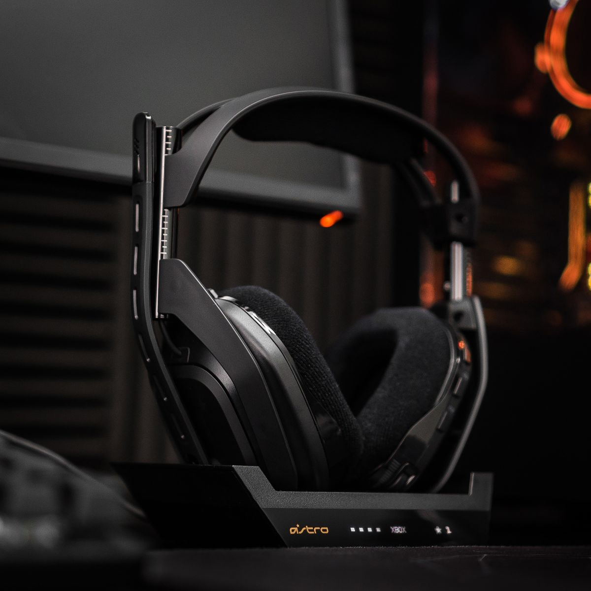 The Astro A50 for Xbox and PC is shown here in its charging cradle.