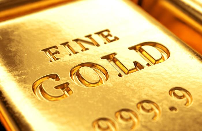 Closeup of the gold bar.
