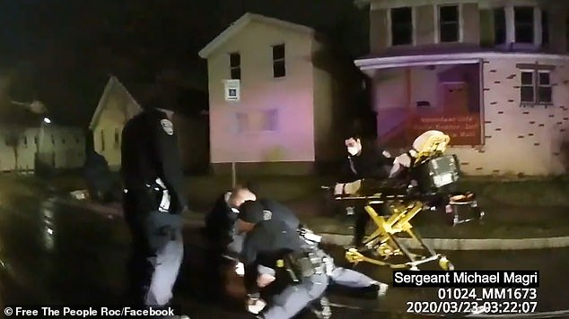 Paramedics arrived when Prude wrestled to the floor, still wearing a 'spit hood'.