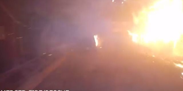 Dramatic footage of the Mercedes Fire Department from the city shows the devastation caused by the creek fire in the first 12 hours of the fire.