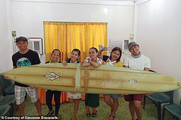 Giovan Branzuela drew pictures with a Falter board that traveled across the ocean.