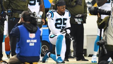Eric Reid of the Carolina Panthers is on his knees during the national anthem before the game against the Pittsburgh Steelers on November 8, 2018 at Heinz Field.