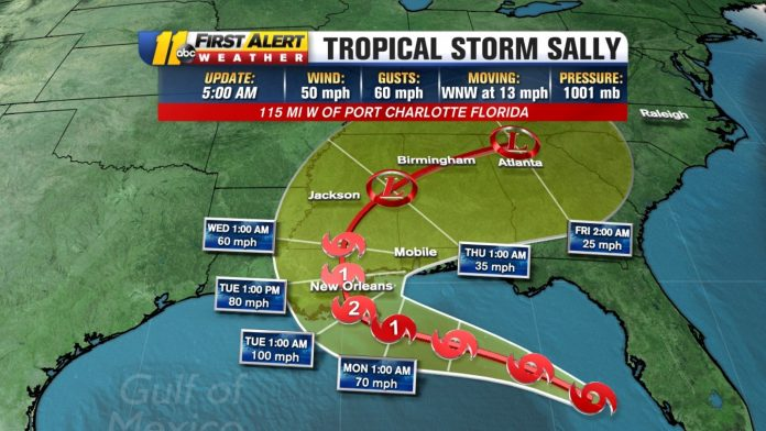 National Hurricane Center: Tropical Storm Sally could strengthen in a Category 2 hurricane before landfall on the Gulf Coast on Tuesday.