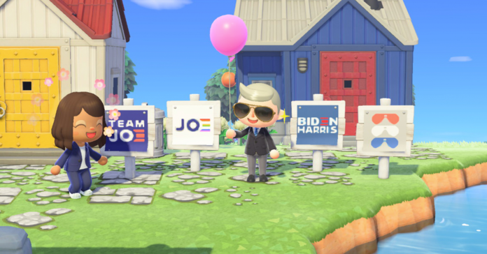 The B Biden campaign provides animal crossing yard signs