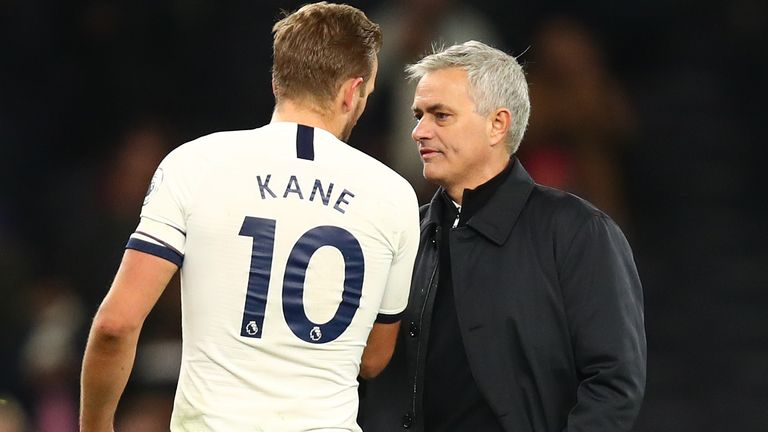 Harry Kane of Tottenham Hotspur, United Kingdom, was congratulated by Tottenham Hotspur manager Jose Mourinho after the Premier League match between Tottenham Hotspur and AFC Bournemouth on November 30, 2019 at Tottenham Hotspur Stadium.