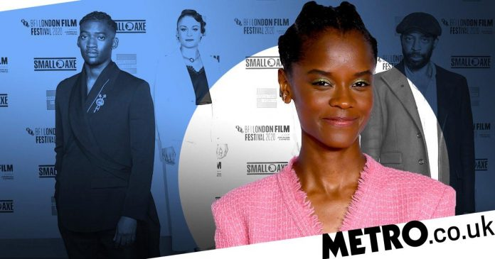 Letia Wright serves appearances with Steve McQueen at the Mangrove premiere