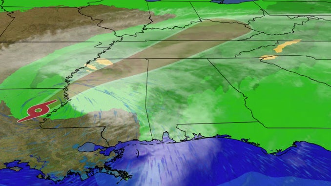 Tropical Storm Delta will bring heavy rain, gusty winds and isolated thunderstorms on Saturday.