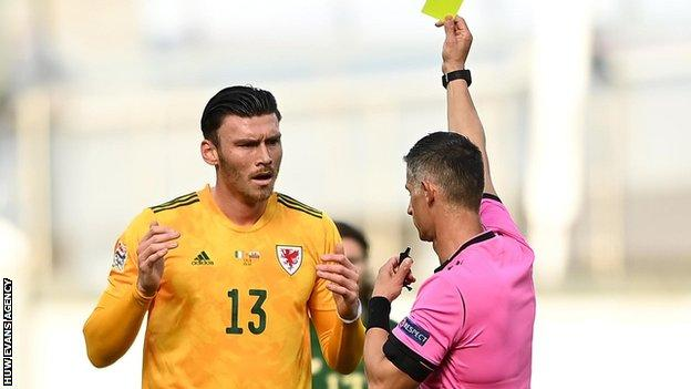 Kifer Moore's booking in Dublin means the striker has been suspended for Wales' next game in Bulgaria