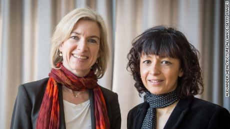 American biochemist Jennifer A.  Doudna (left) and French microbiologist Emmanuel Charpitier, pictured together in 2016.