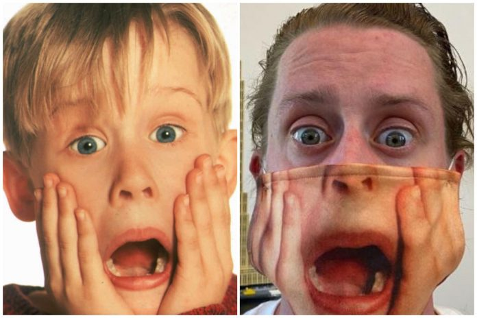 Macaulay poses with Kulkin in Home Alone 2 Face Mask and the internet goes wild
