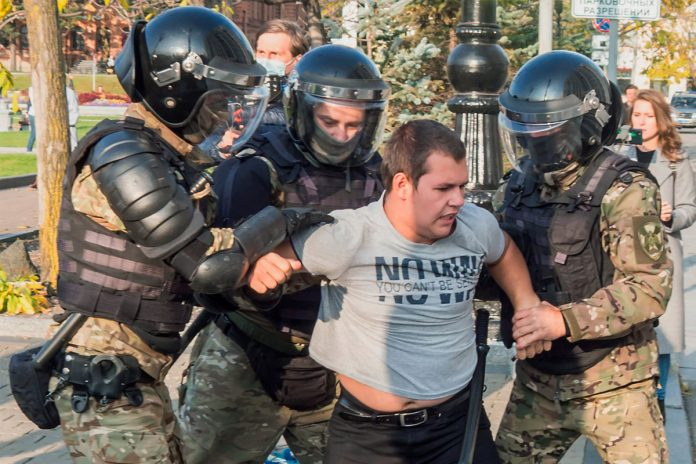 Police knocked down doing on anti-Russian protests