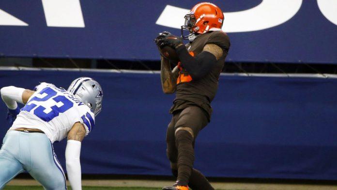 The Browns 'Jarvis Landry de Dale Beckham Jr. pulls a 37-yard TD.