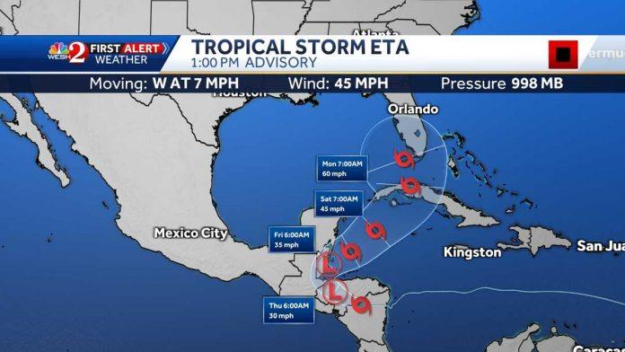 The Hurricane Center cone includes Florida