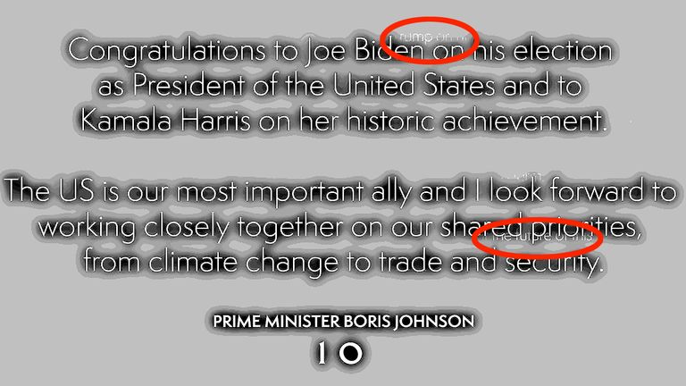 The Prime Minister tweeted Joe Biden