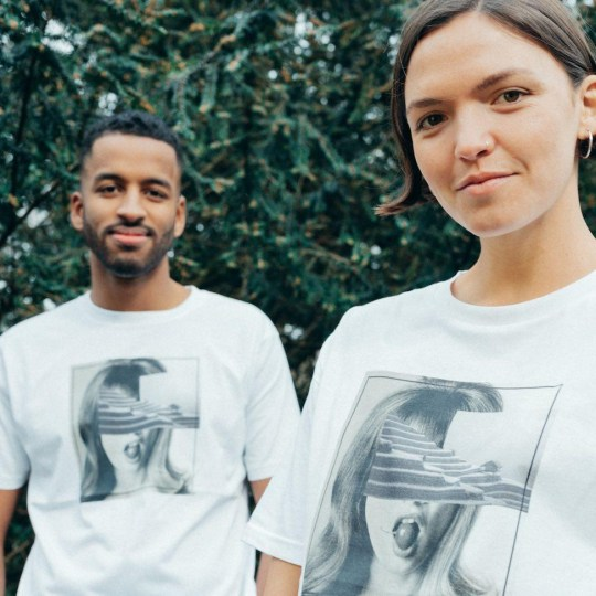 This paired model is a Worth London durable and gender neutral T-shirt.